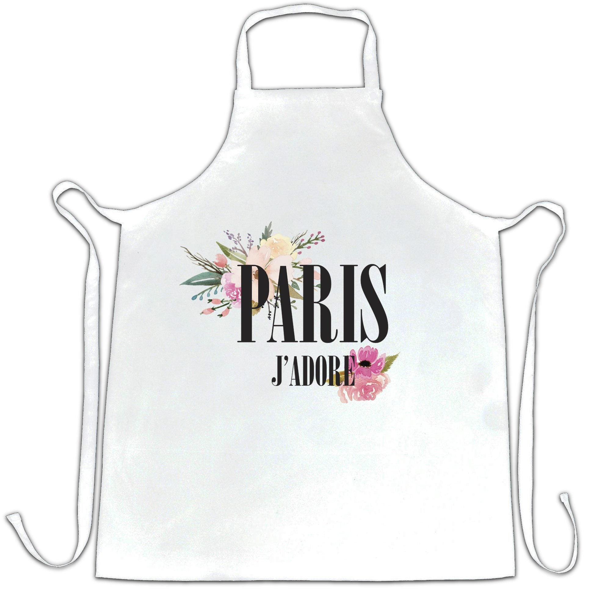Watercolour Art Chef's Apron J'adore Paris Flowers Logo