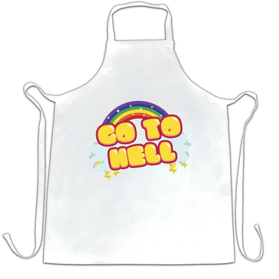 Novelty Rainbow Art Chef's Apron Go To Hell Gothic Slogan