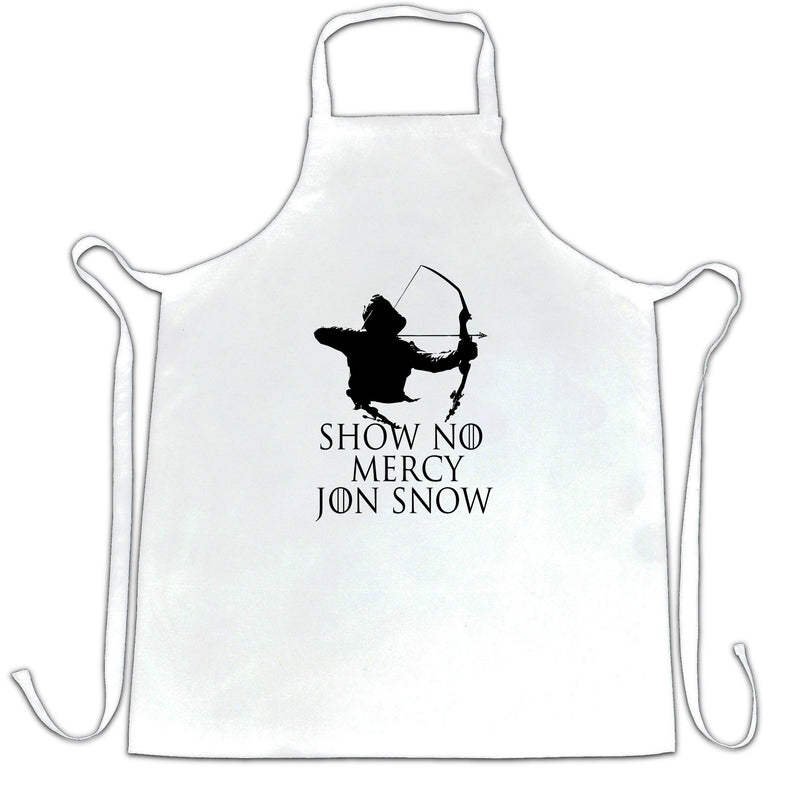 Show No Mercy John Snow Printed Slogan Quote Design Premium Apron