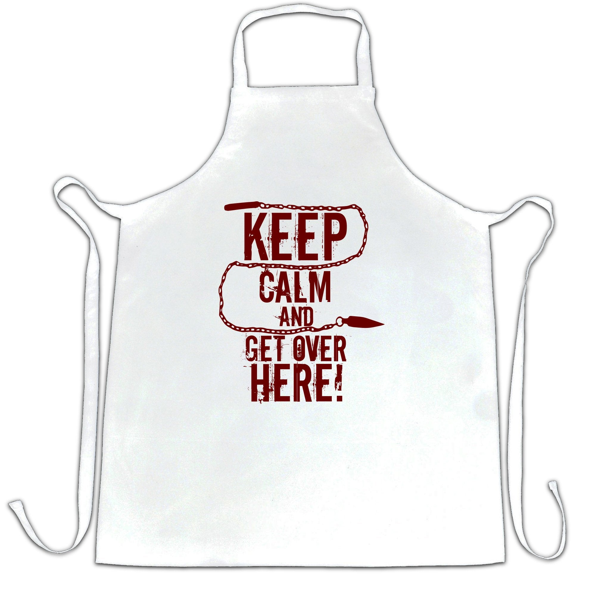 Keep Calm And Get Over Here Printed Slogan Quote Design Premium Apron