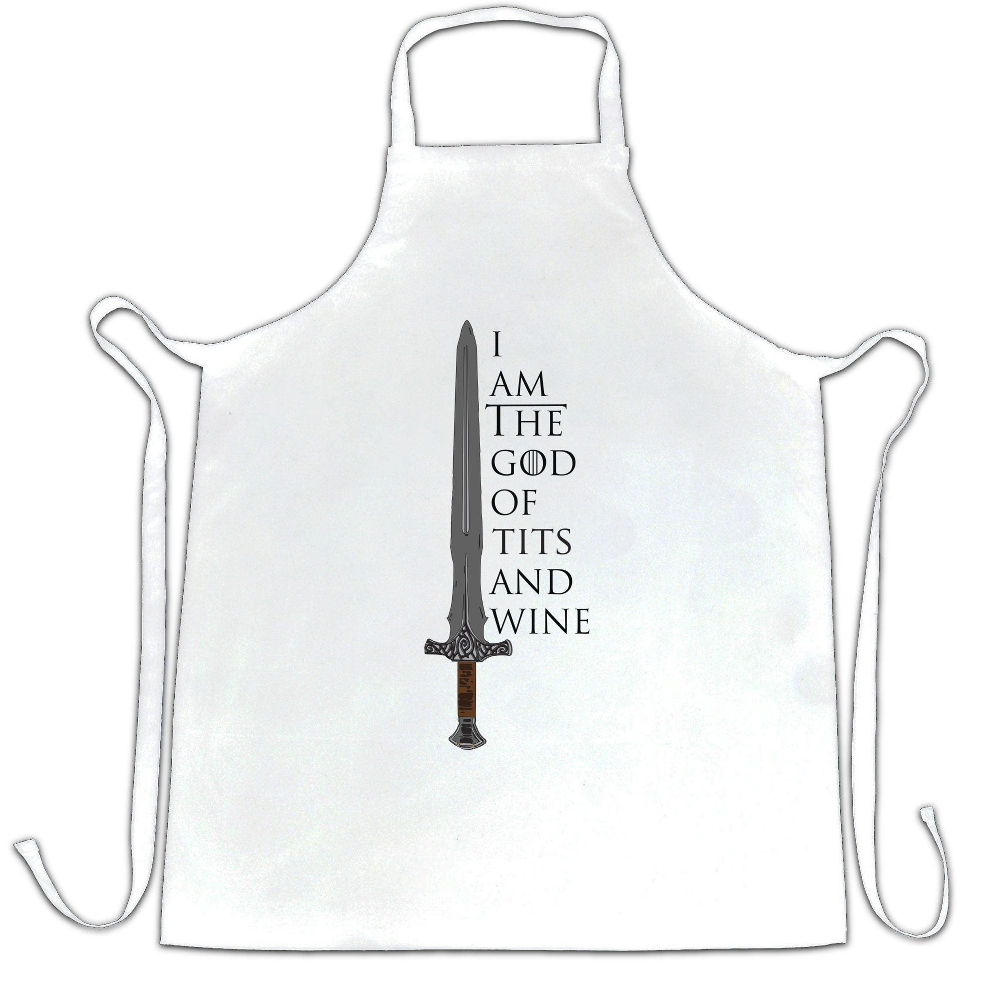 Novelty Parody Chef's Apron I Am The God Of Tits And Wine