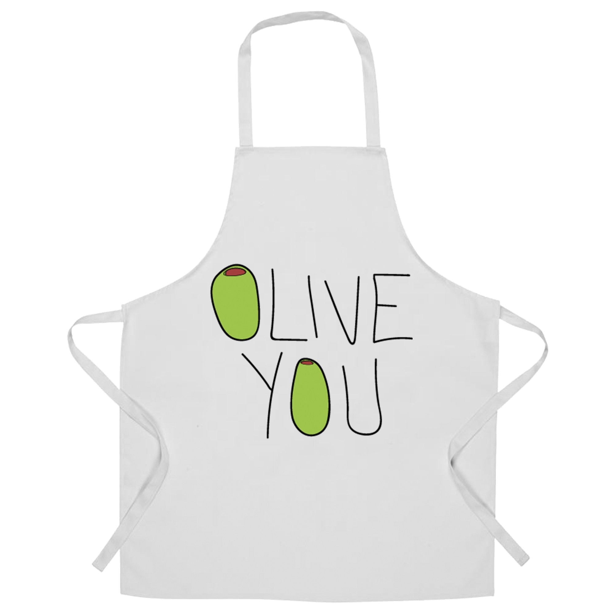 Valentines Day Chef's Apron Olive You Slogan