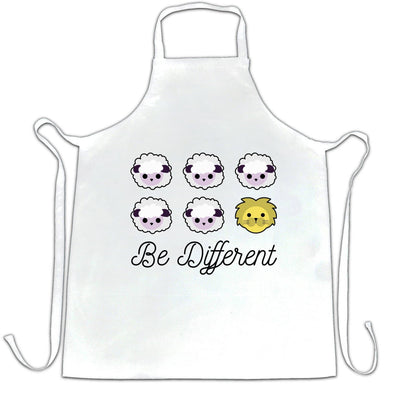 Novelty Chef's Apron Be Different Cartoon Sheep Slogan