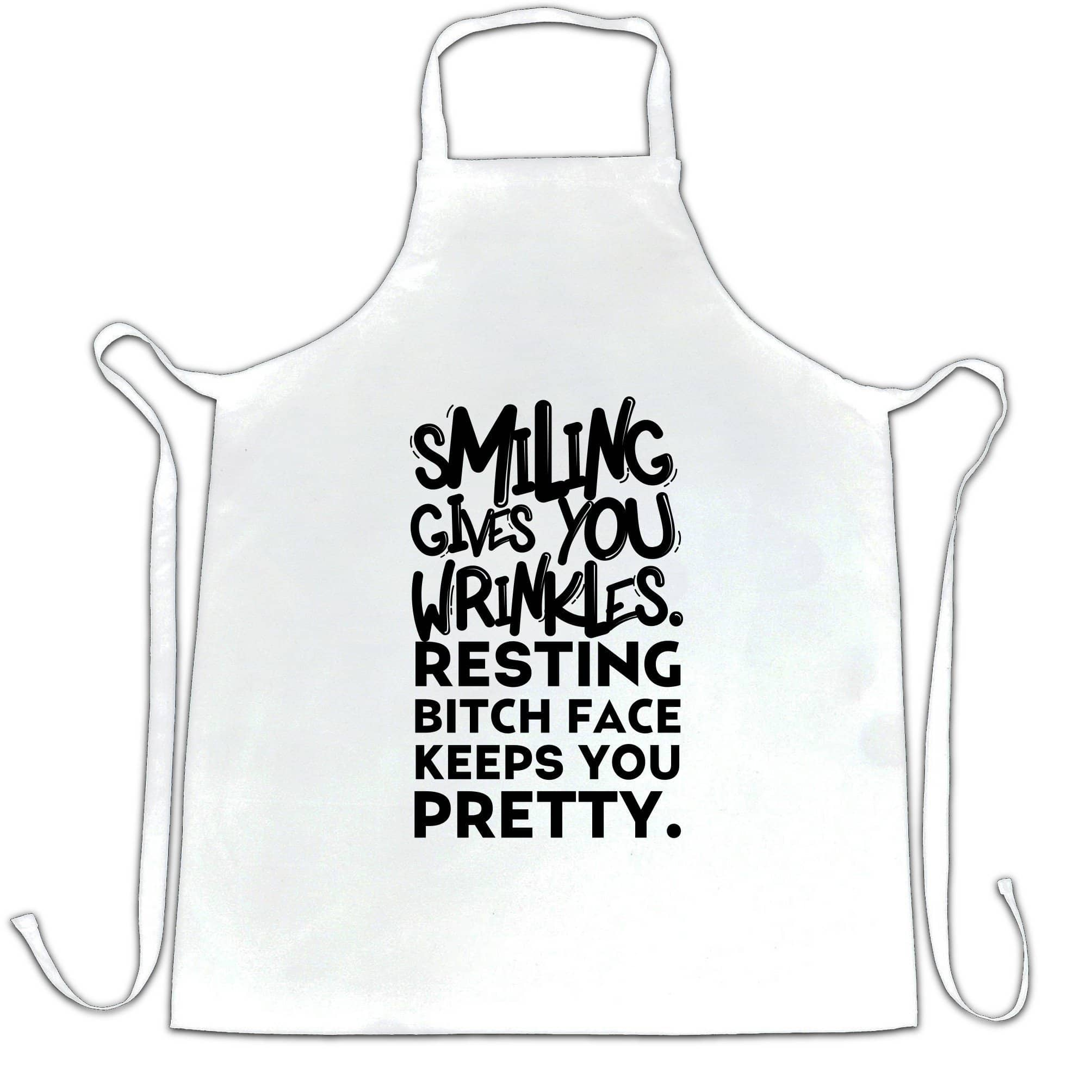 Joke Chef's Apron Smiling Gives You Wrinkles Sassy Slogan