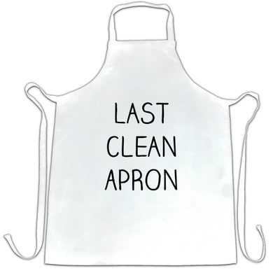 Funny Last Clean Chefs Apron Novelty Slogan