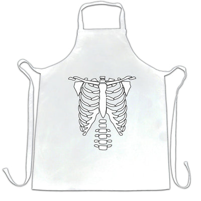 Halloween Chef's Apron Skeleton Ribcage Chest