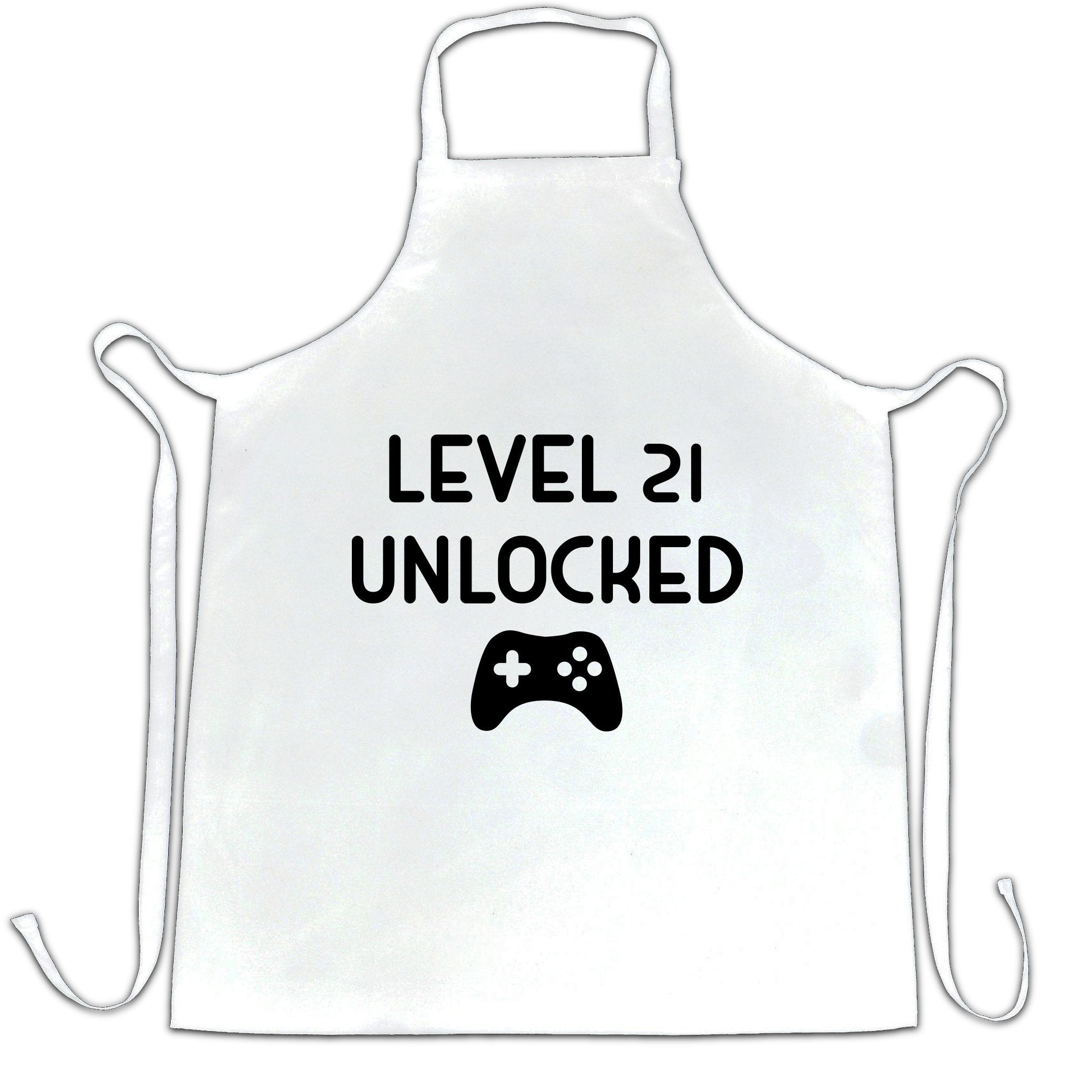 Gamers 21st Birthday Chef's Apron Level 21 Unlocked Slogan