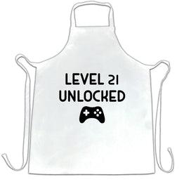 Gamers 21st Birthday Chefs Apron Level 21 Unlocked Slogan