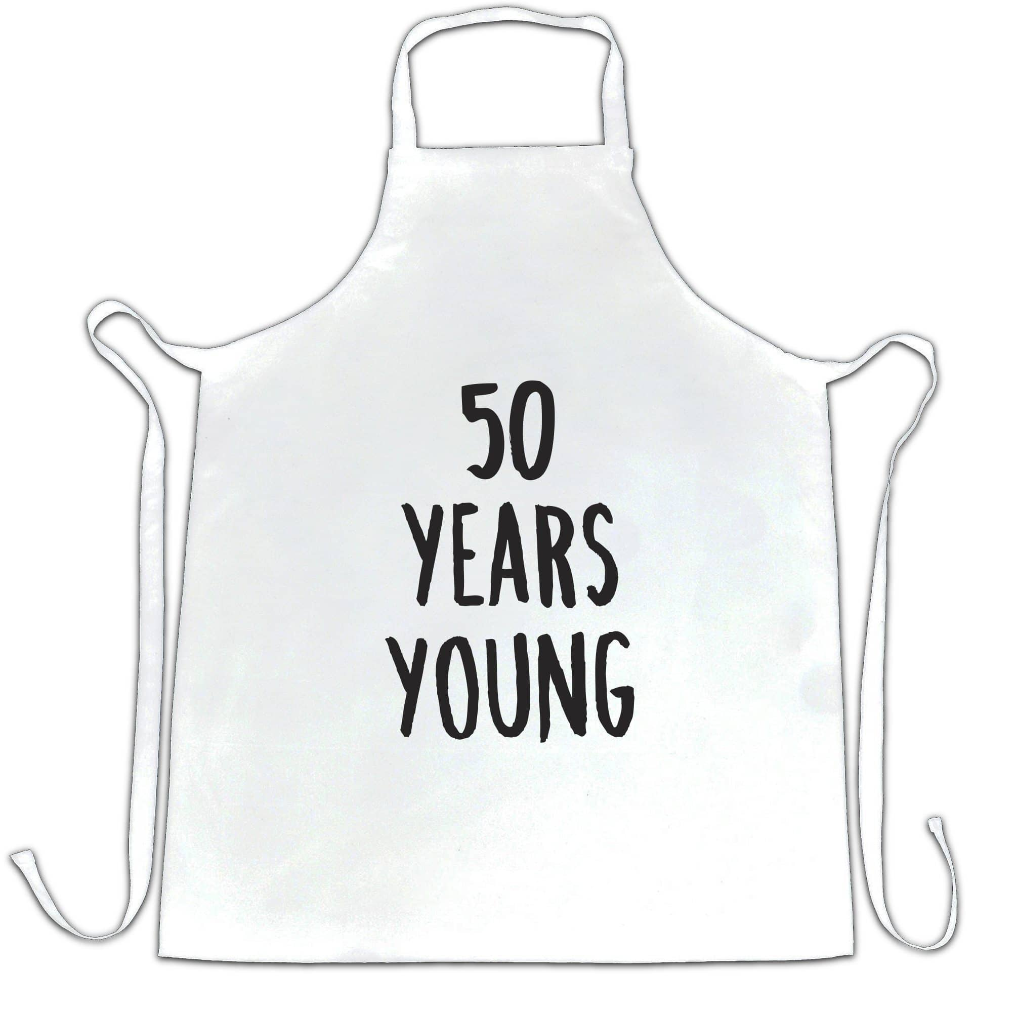50th Birthday Joke Chef's Apron 50 Years Young Novelty Text