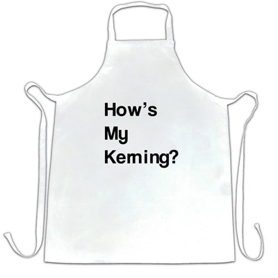 Novelty Graphic Design Chef's Apron How's My Kerning Slogan