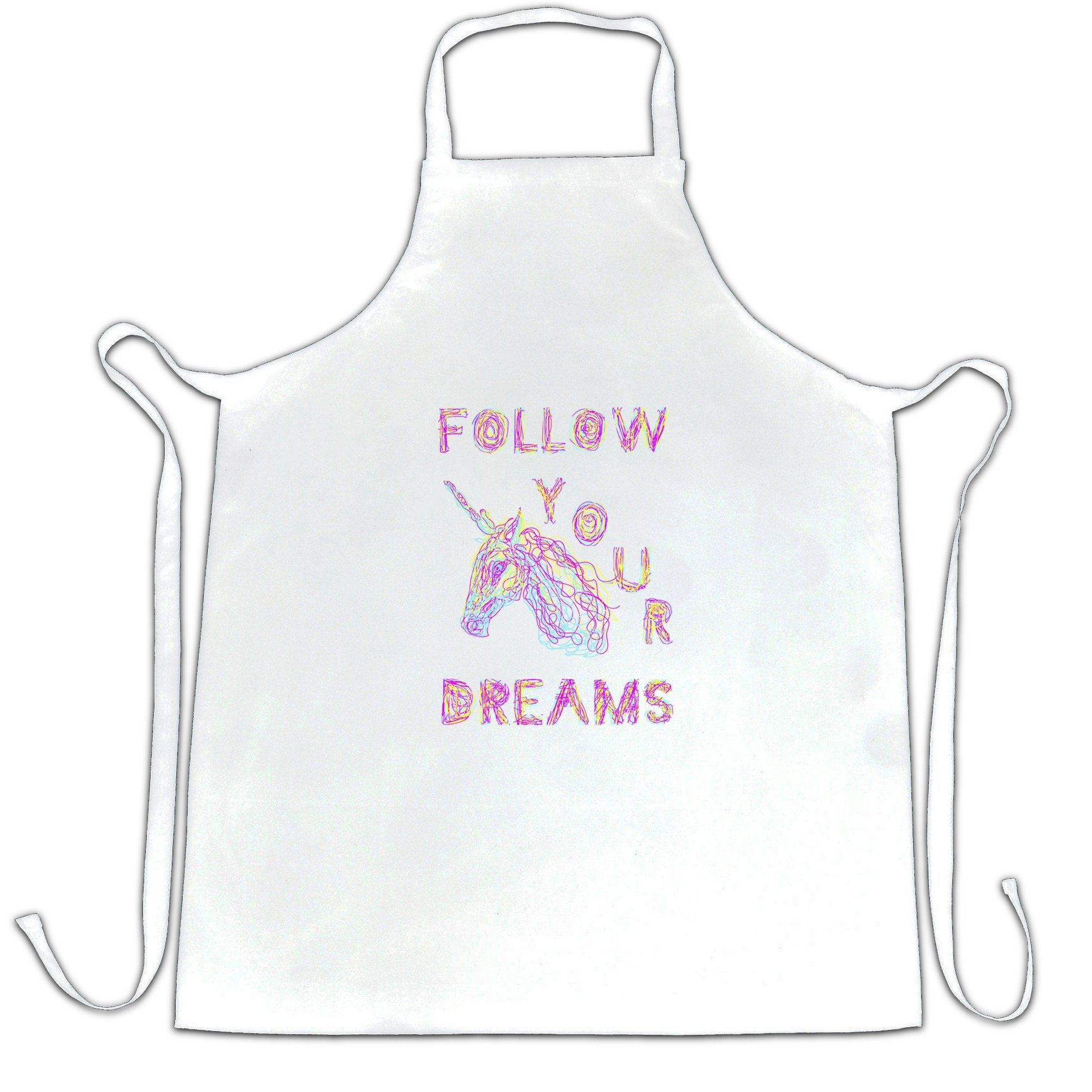 Unicorn Chef's Apron Follow Your Dreams Rainbow Slogan