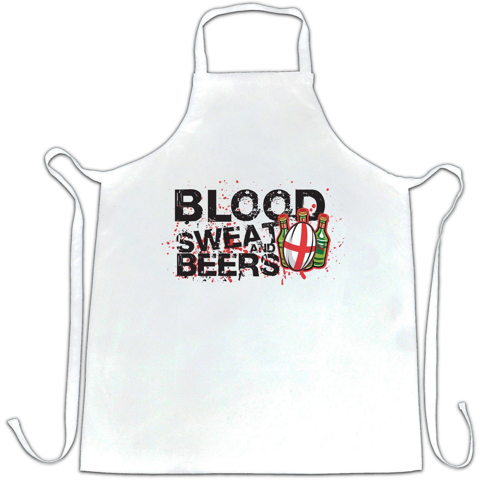 England Rugby Supporter Chef's Apron Blood, Sweat And Beers
