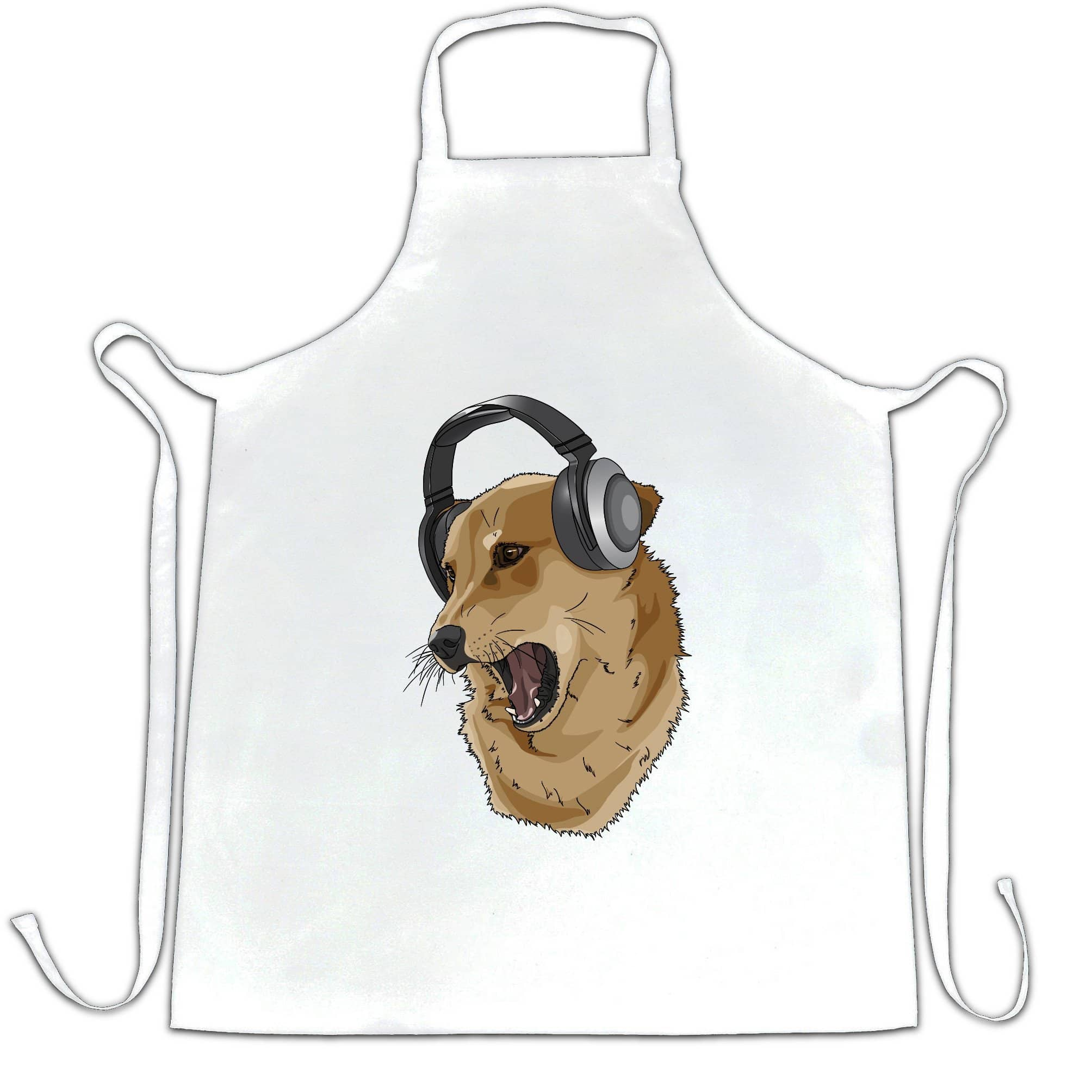 Cute Music Chef's Apron Shibe Dog Wearing Headphones