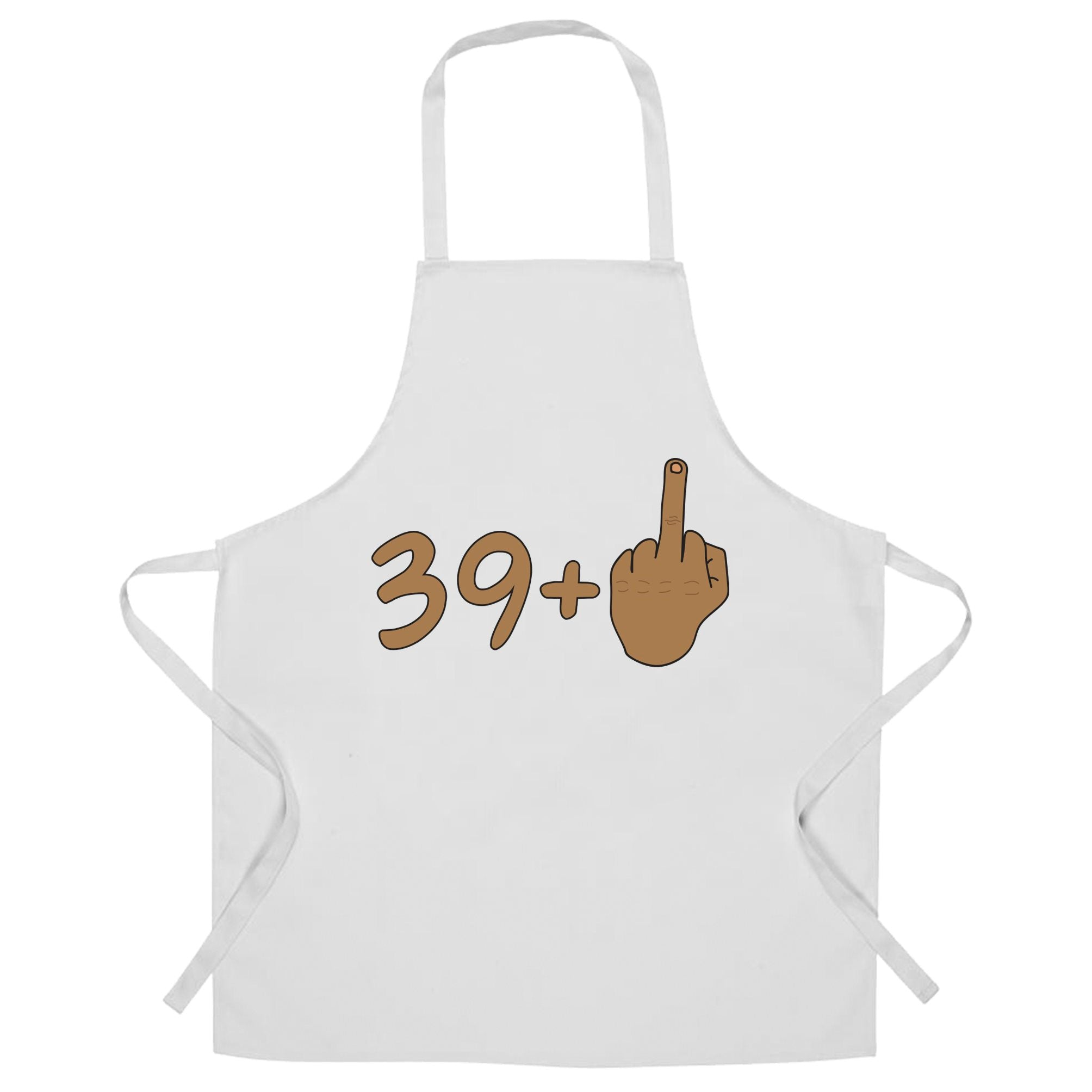 Rude 40th Birthday Chef's Apron Tanned Middle Finger