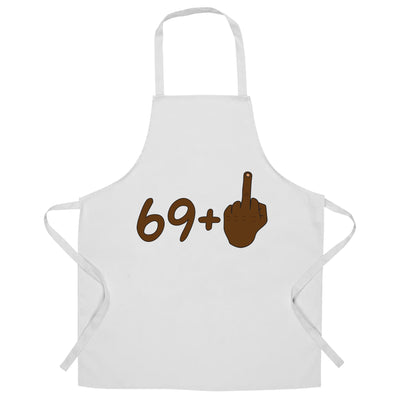 Rude 70th Birthday Chef's Apron Black Middle Finger