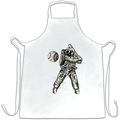 Geeky Sports Chef's Apron Astronaut Space Baseball Art