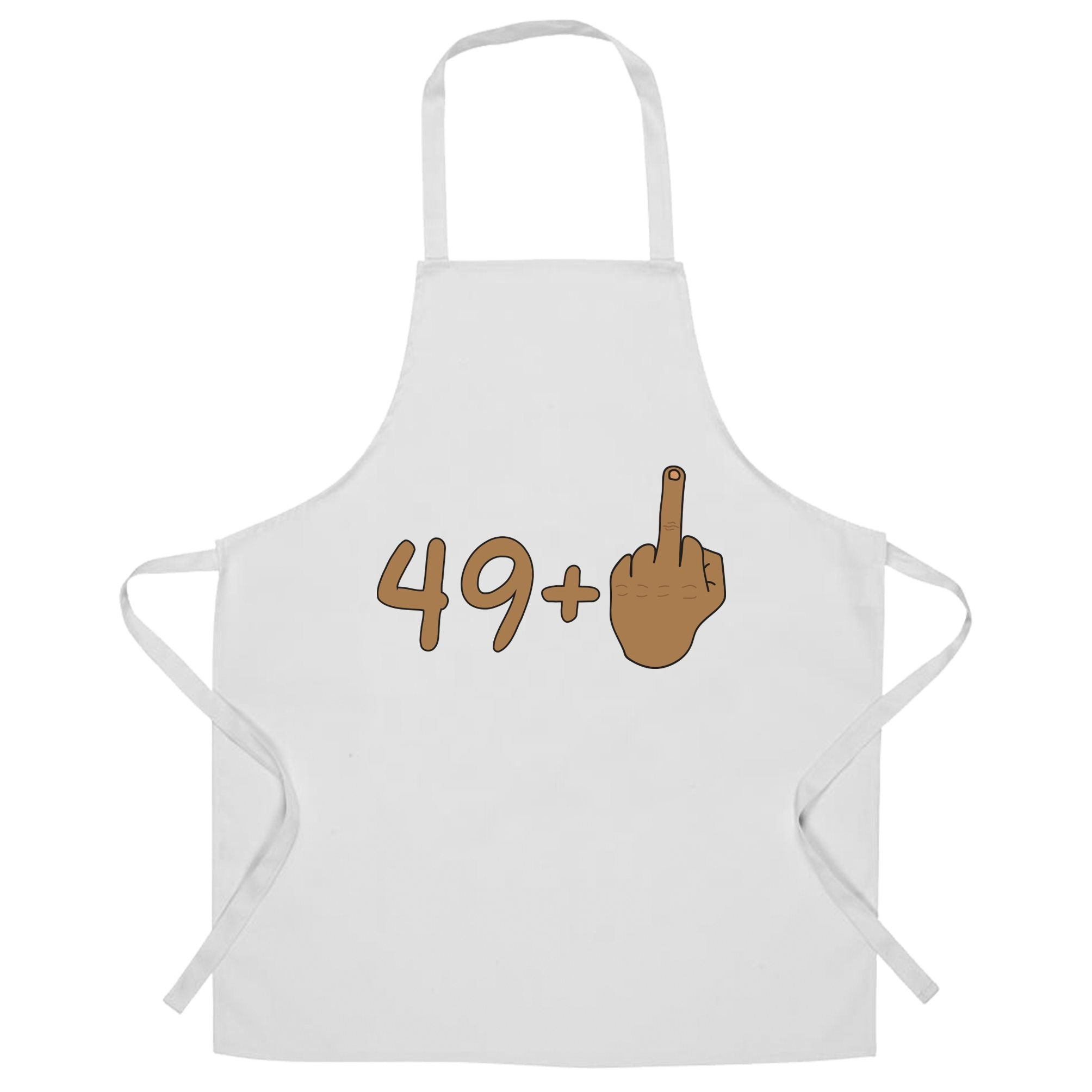 Rude 50th Birthday Chef's Apron Tanned Middle Finger