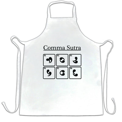 Novelty English Chef's Apron Comma Sutra Grammar Joke