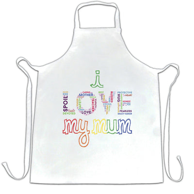 Mother's Day Chef's Apron I Love My Mum Mom Slogan