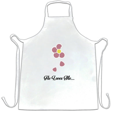 Cute Summer Chefs Apron He Loves Me... Flower Slogan