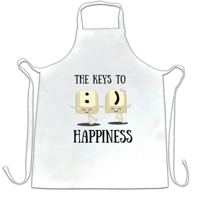 Novelty Computer Chef's Apron The Keys To Happiness :) Pun
