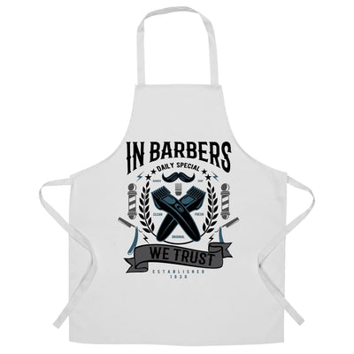 Novelty Chef's Apron In Barbers We Trust Logo
