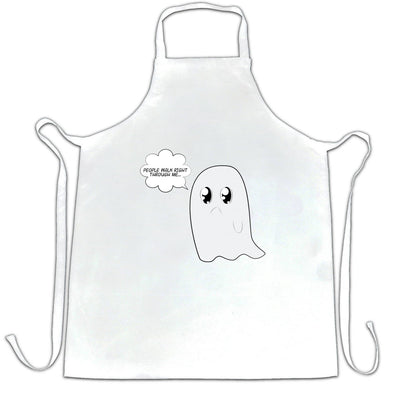 Cute Ghost Chef's Apron People Walk Right Through Me Joke