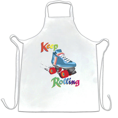 Vintage Skating Chef's Apron Keep On Rolling Pun Joke