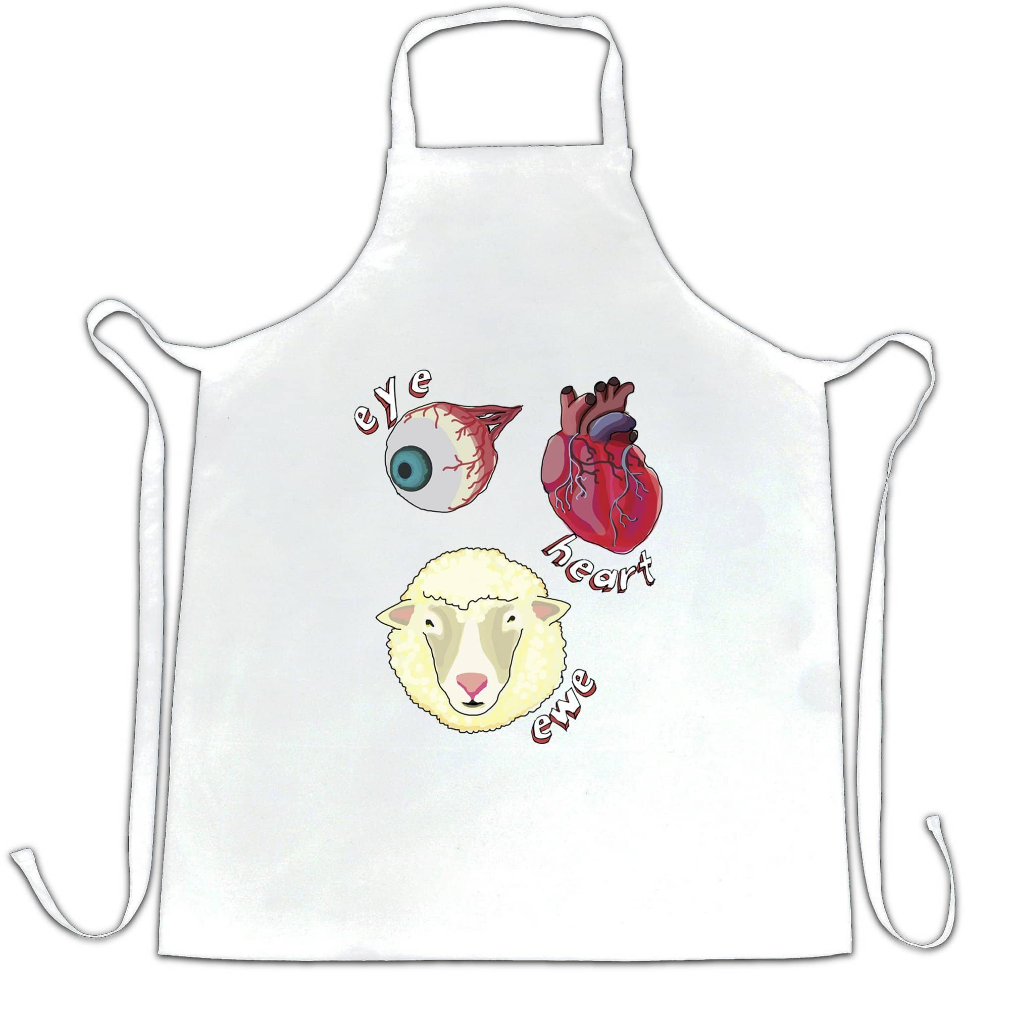 Creepy Chef's Apron Eye Heart Ewe I Heart You Pun
