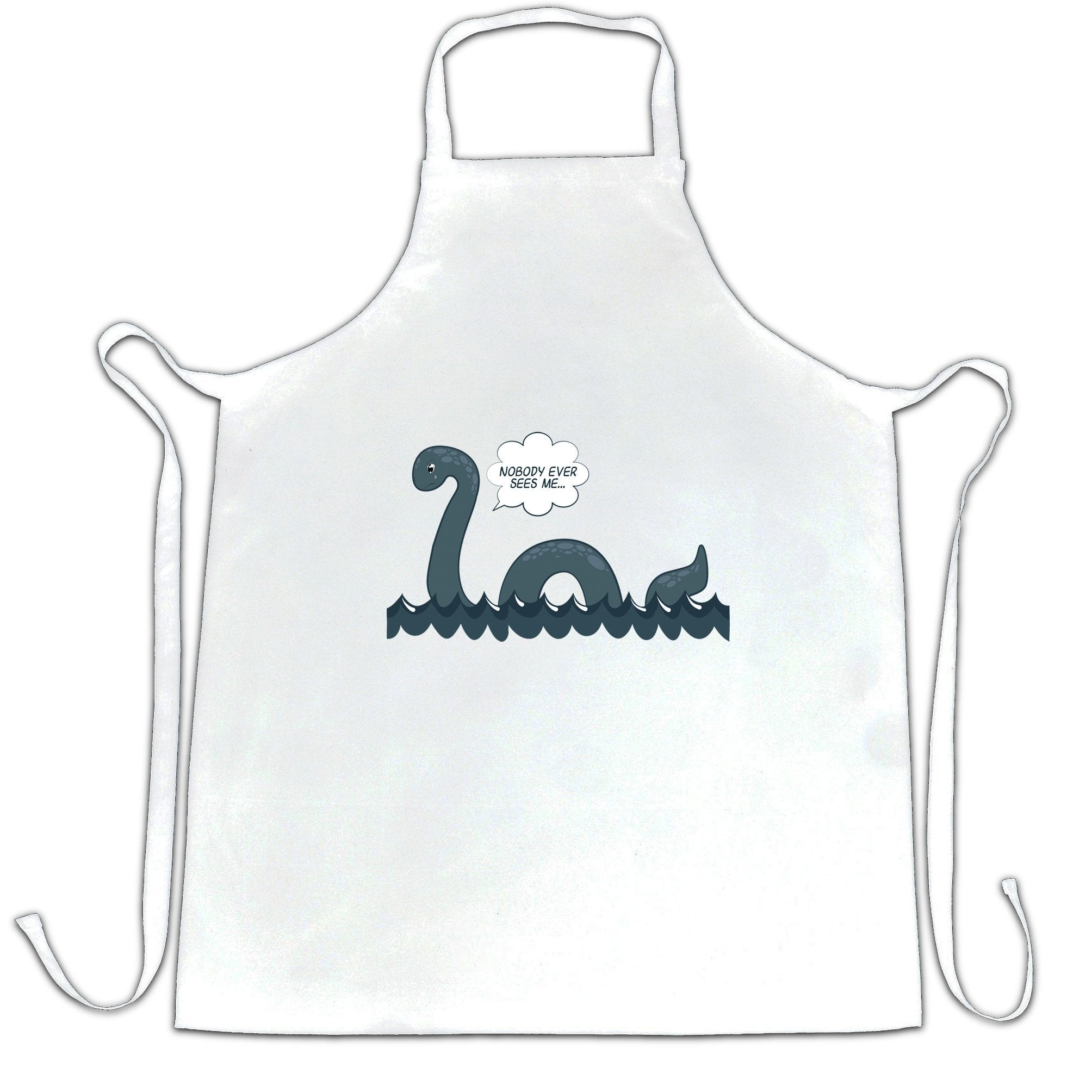 Loch Ness Monster Chef's Apron Nobody Sees Me Joke