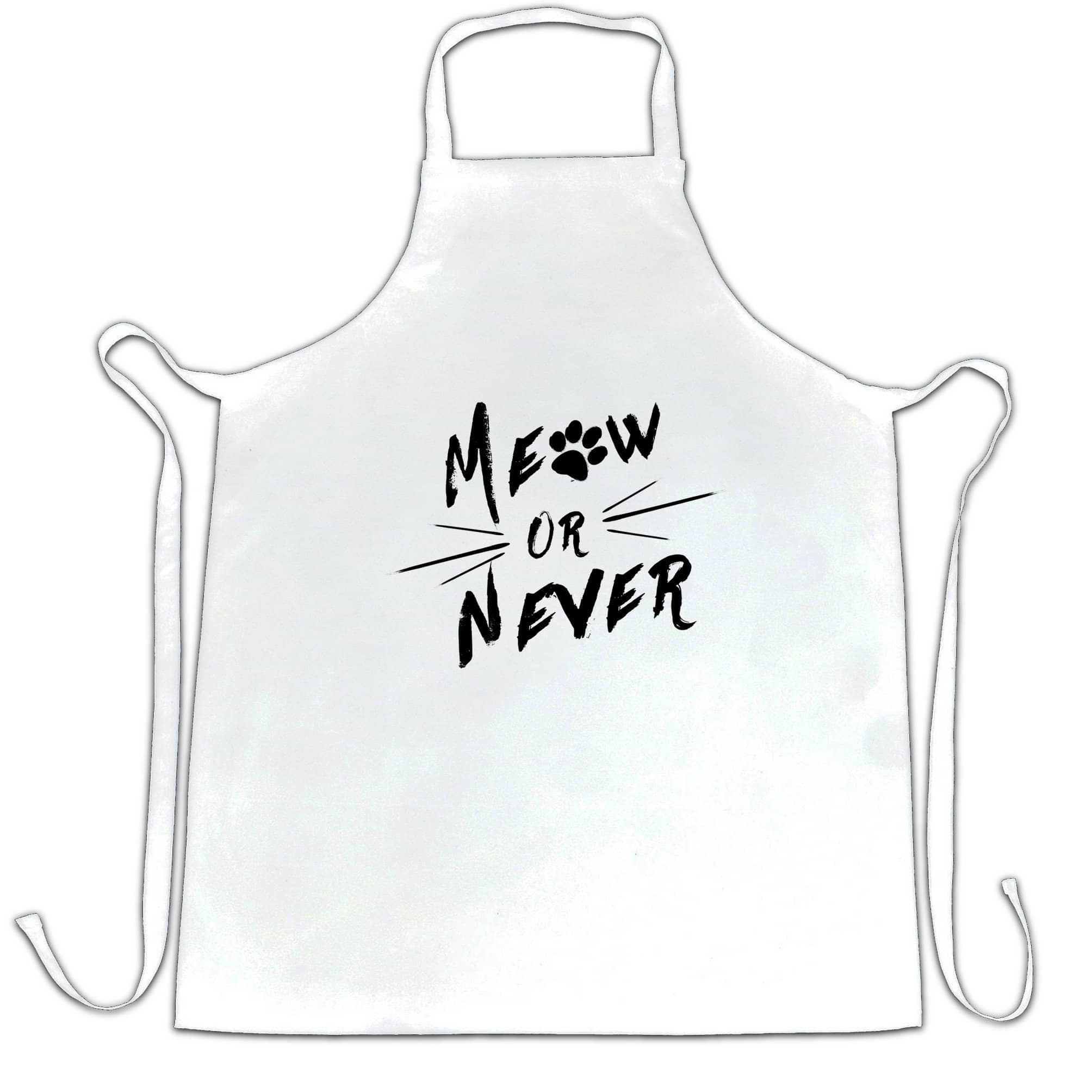 Novelty Pet Chef's Apron Meow Or Never Cat Slogan