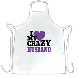 Fun Couples Chefs Apron I Love My Crazy Husband