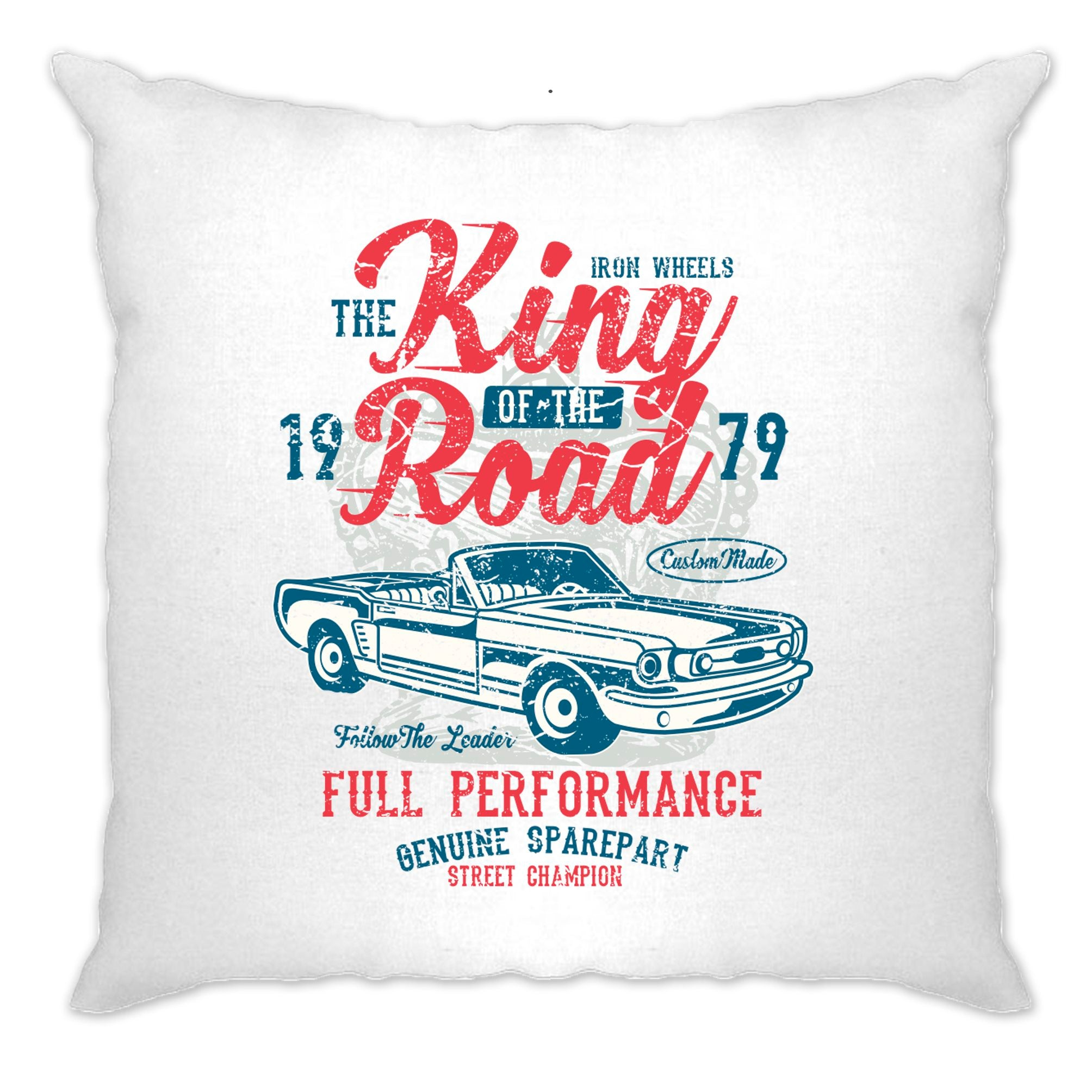 Retro Car Cushion Cover King Of The Road 1979 Racing Art
