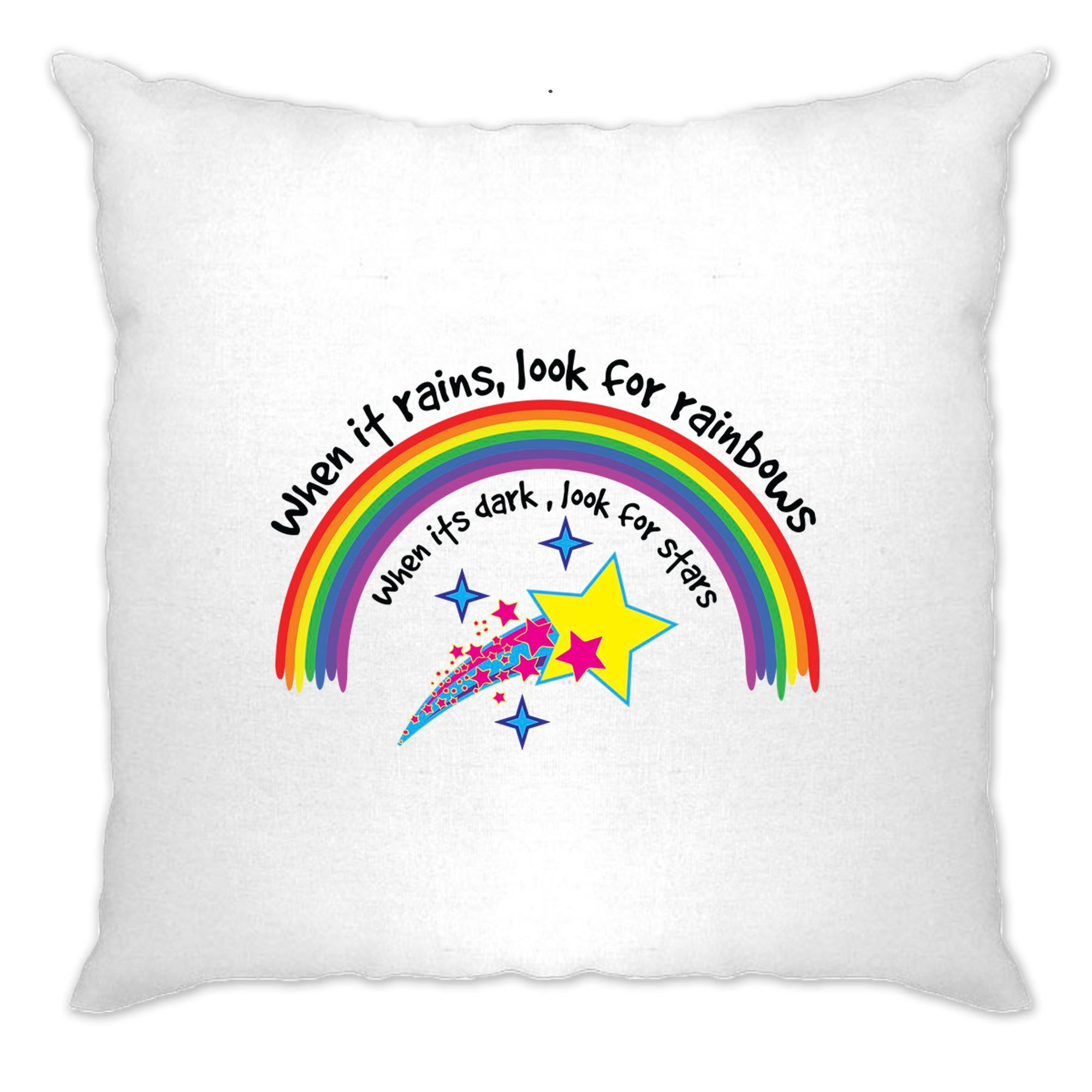 Inspirational Cushion Cover When It Rains, Look For Rainbows