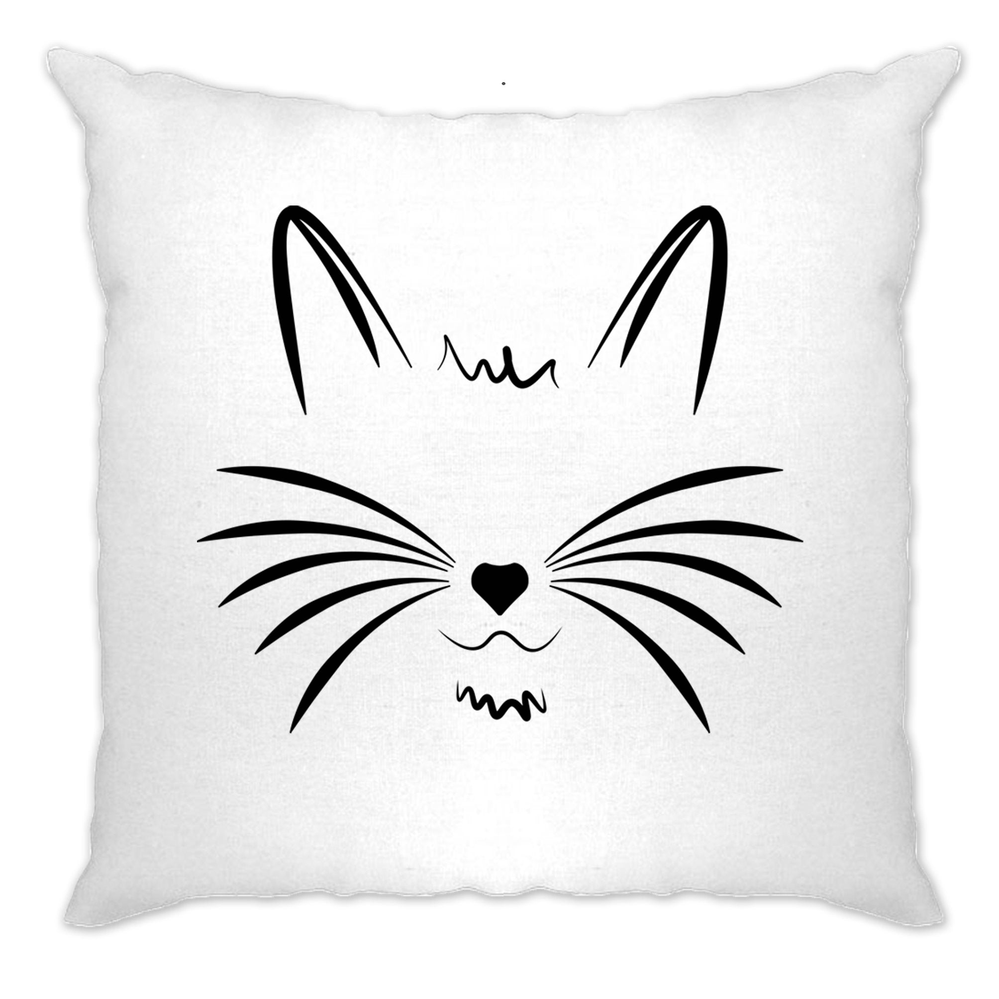 I Love Cats Cushion Cover Face with Heart Nose