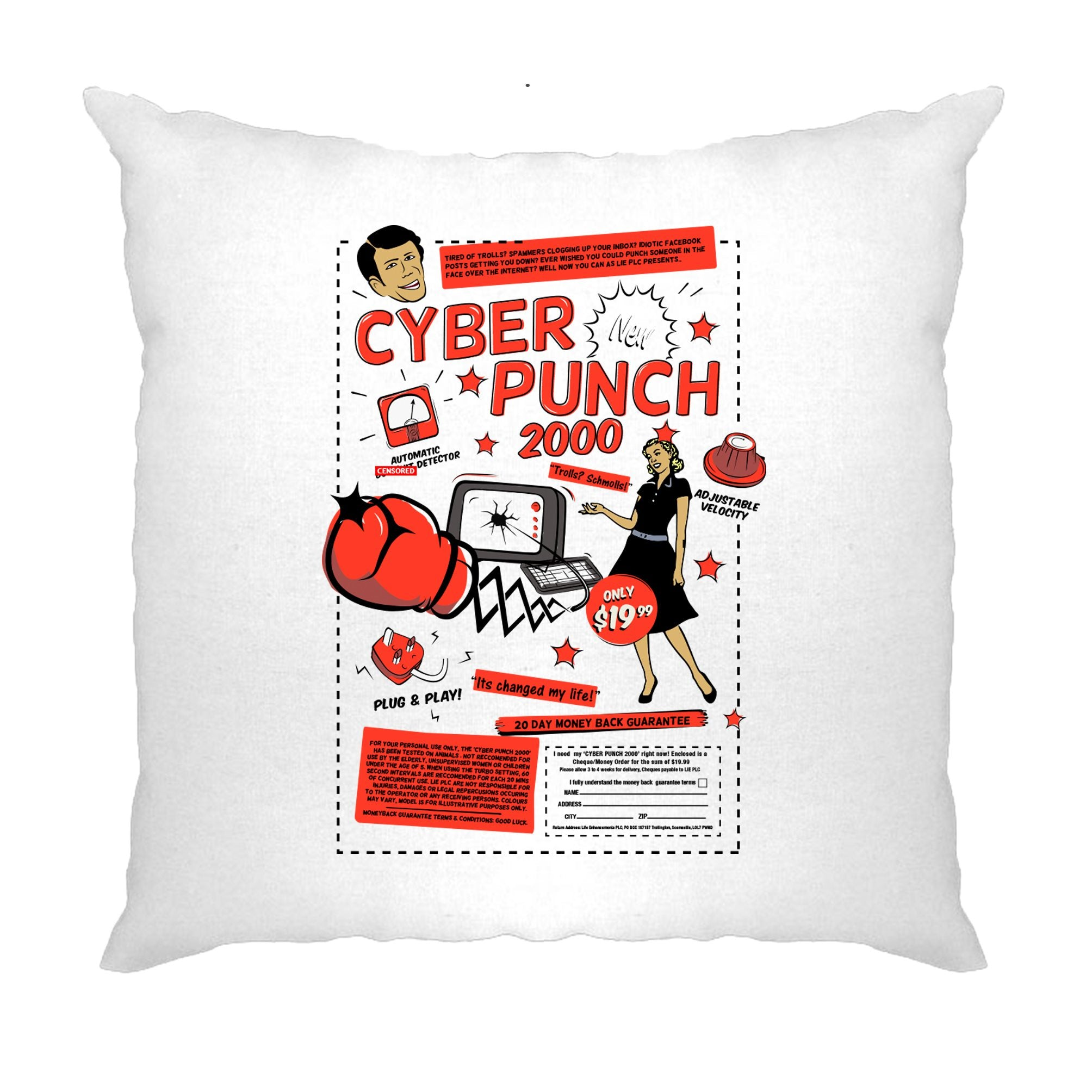 Novelty Cushion Cover Cyber Punch 2000 Over The Internet
