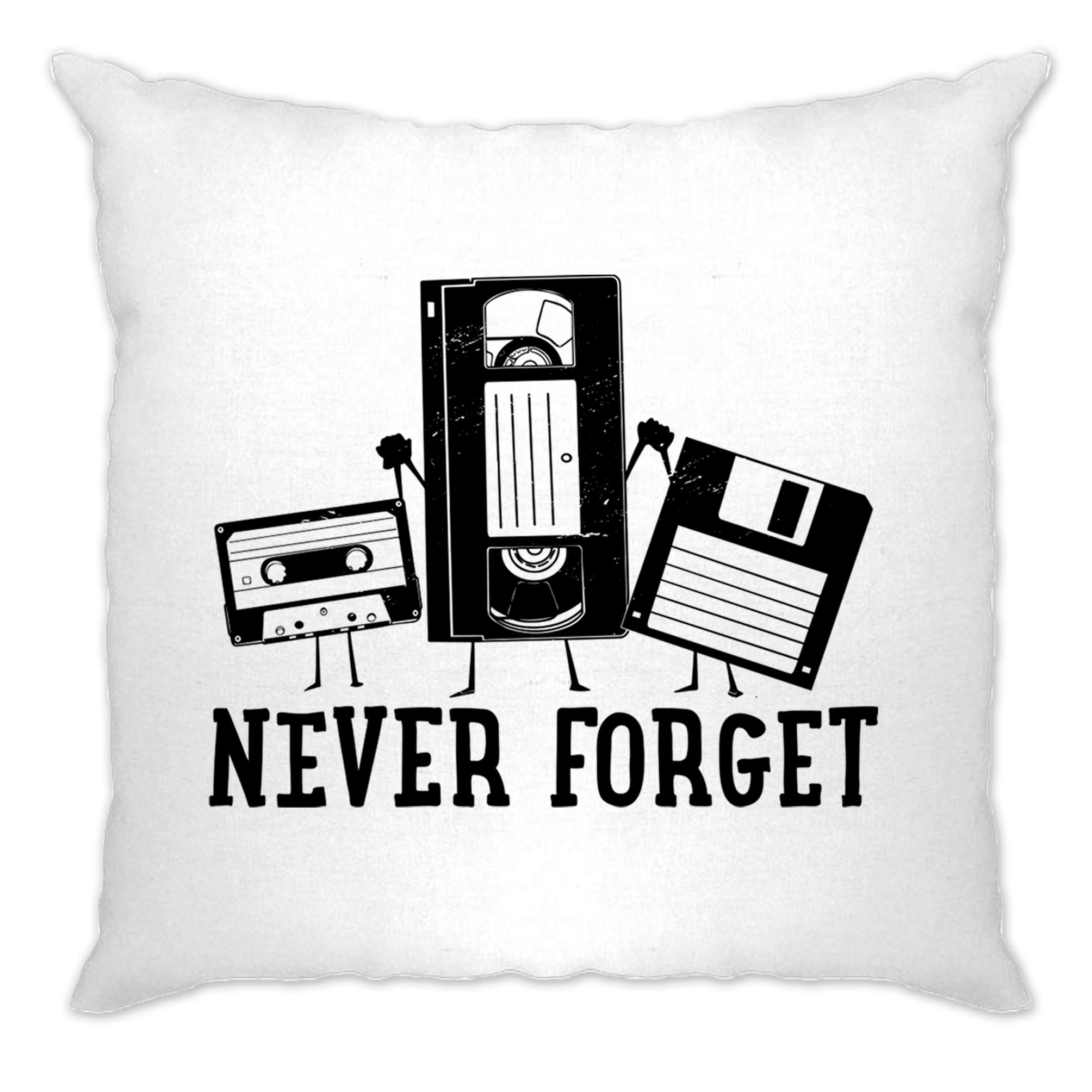 Retro Cushion Cover Never Forget VHS and Floppy Discs