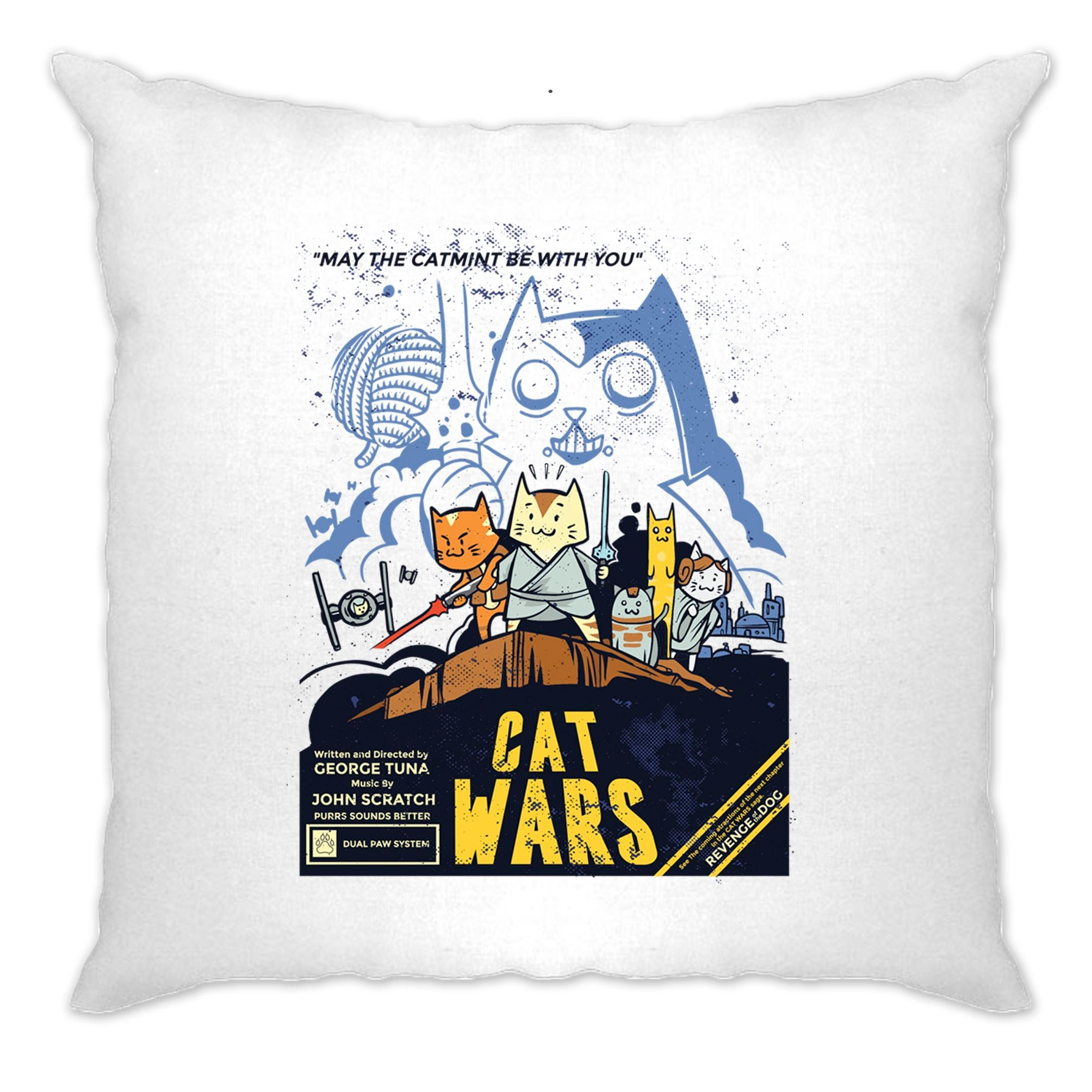 Cat Wars Cushion Cover Funny Star Parody