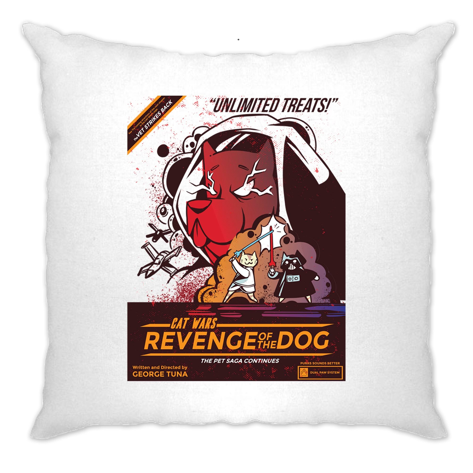 Cat Wars 2 Revenge Of The Dog Cushion Cover Funny Star Parody