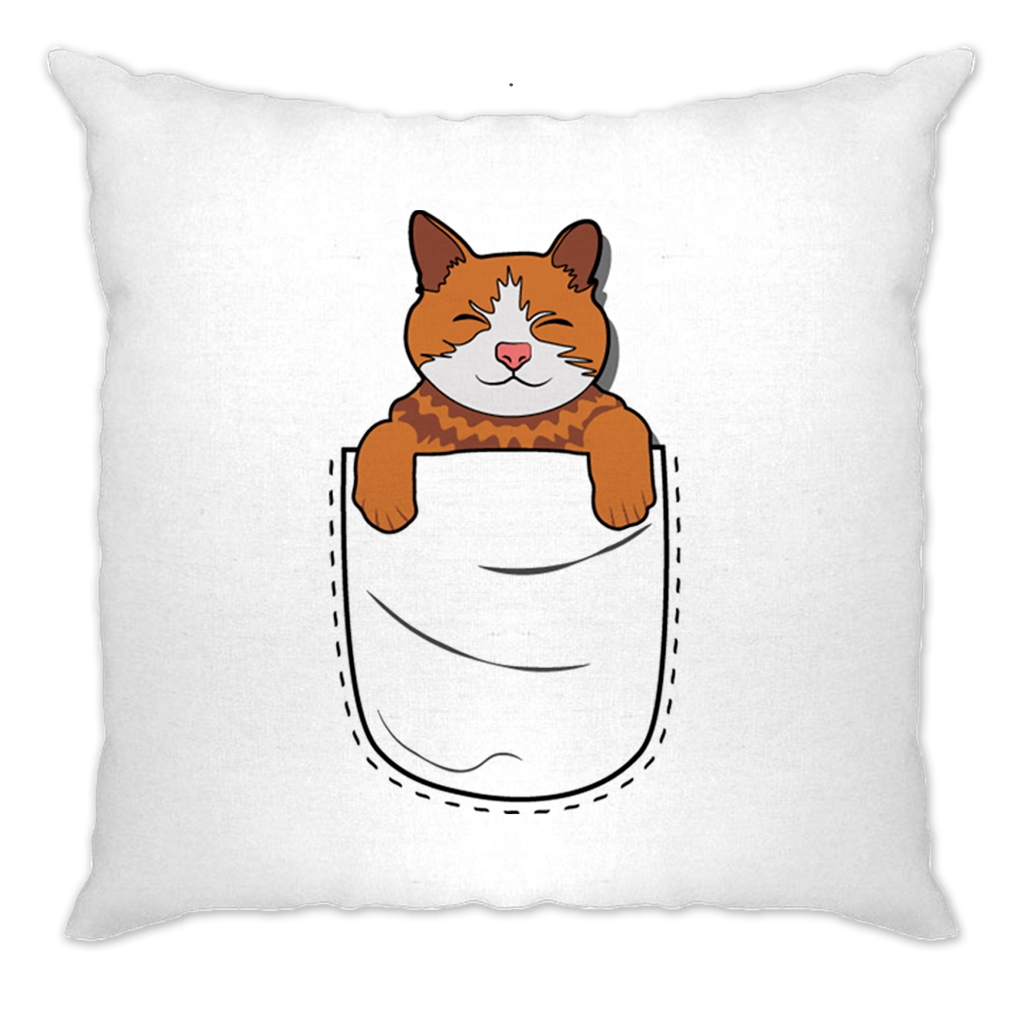 Funny Cute Cat Cushion Cover Kitten in Pocket