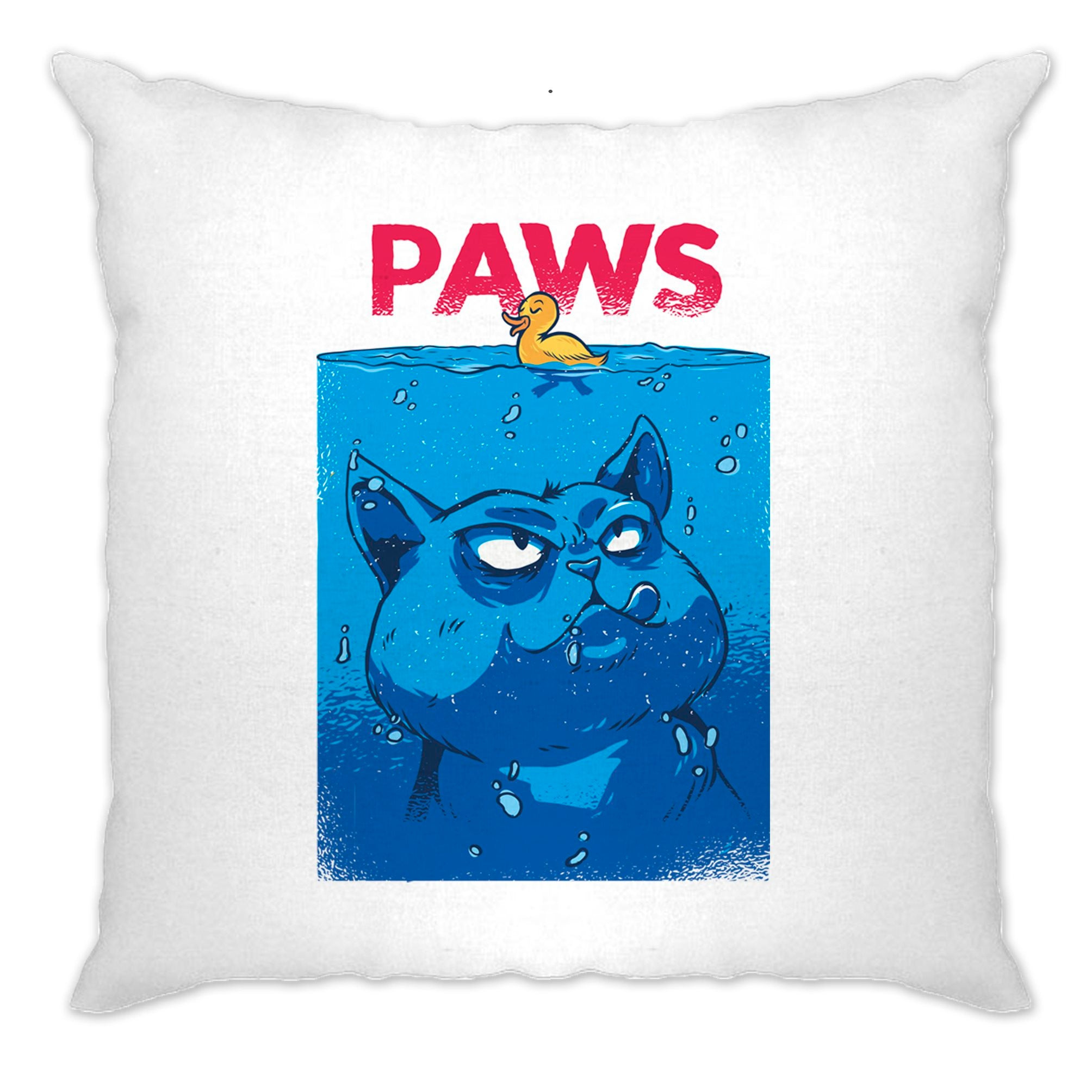 Funny Cat Cushion Cover Paws The Movie Jaws Parody