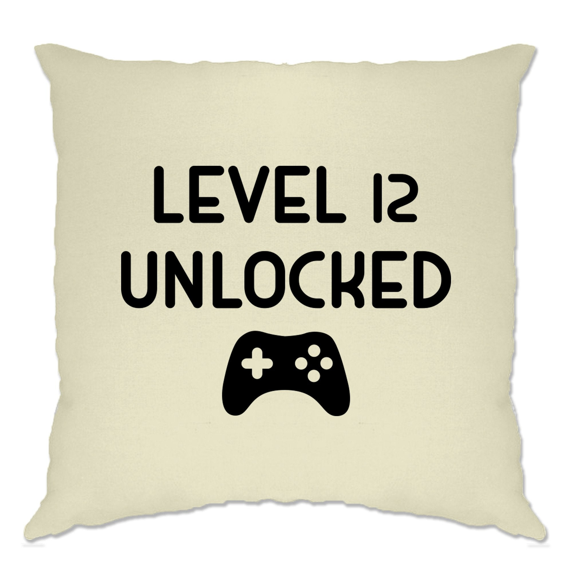 12th Birthday Gamer Cushion Cover Level 12 Unlocked Slogan