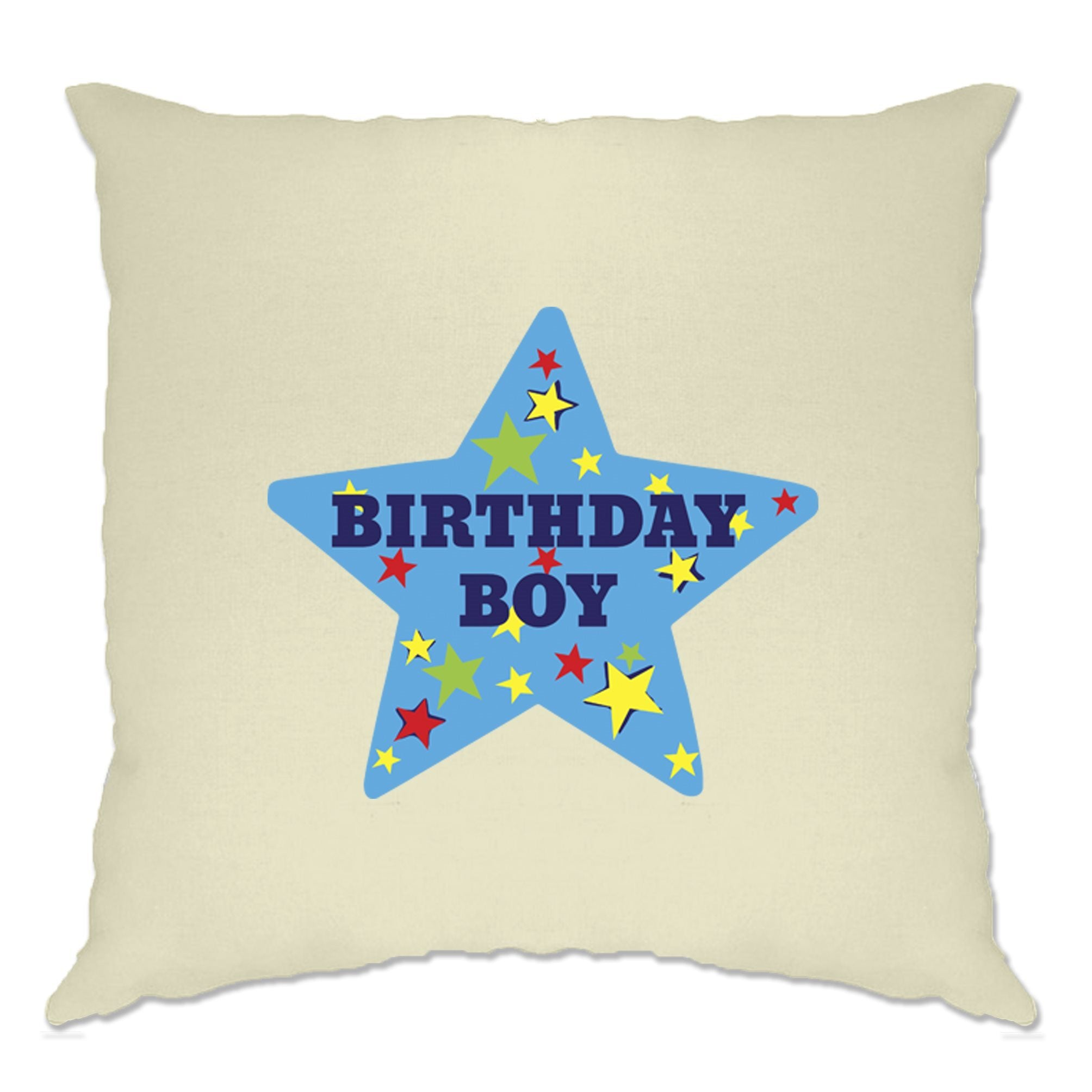 Novelty Party Cushion Cover Birthday Boy Pocket Print Badge