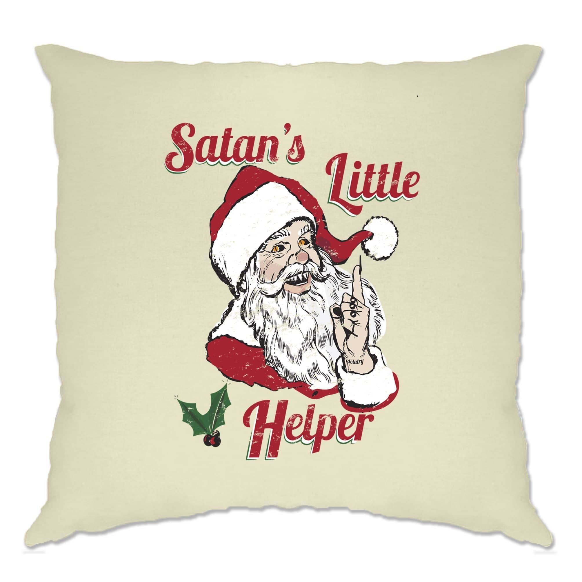 Anti Christmas Cushion Cover Satans Little Helper Parody