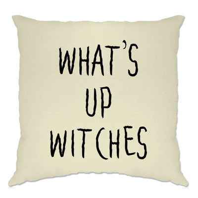 Novelty Halloween Cushion Cover What's Up Witches Pun