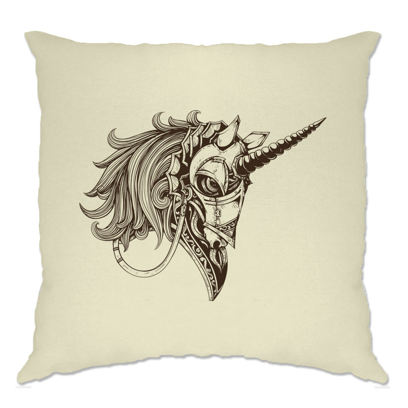 Gothic Art Cushion Cover Armoured Unicorn Graphic