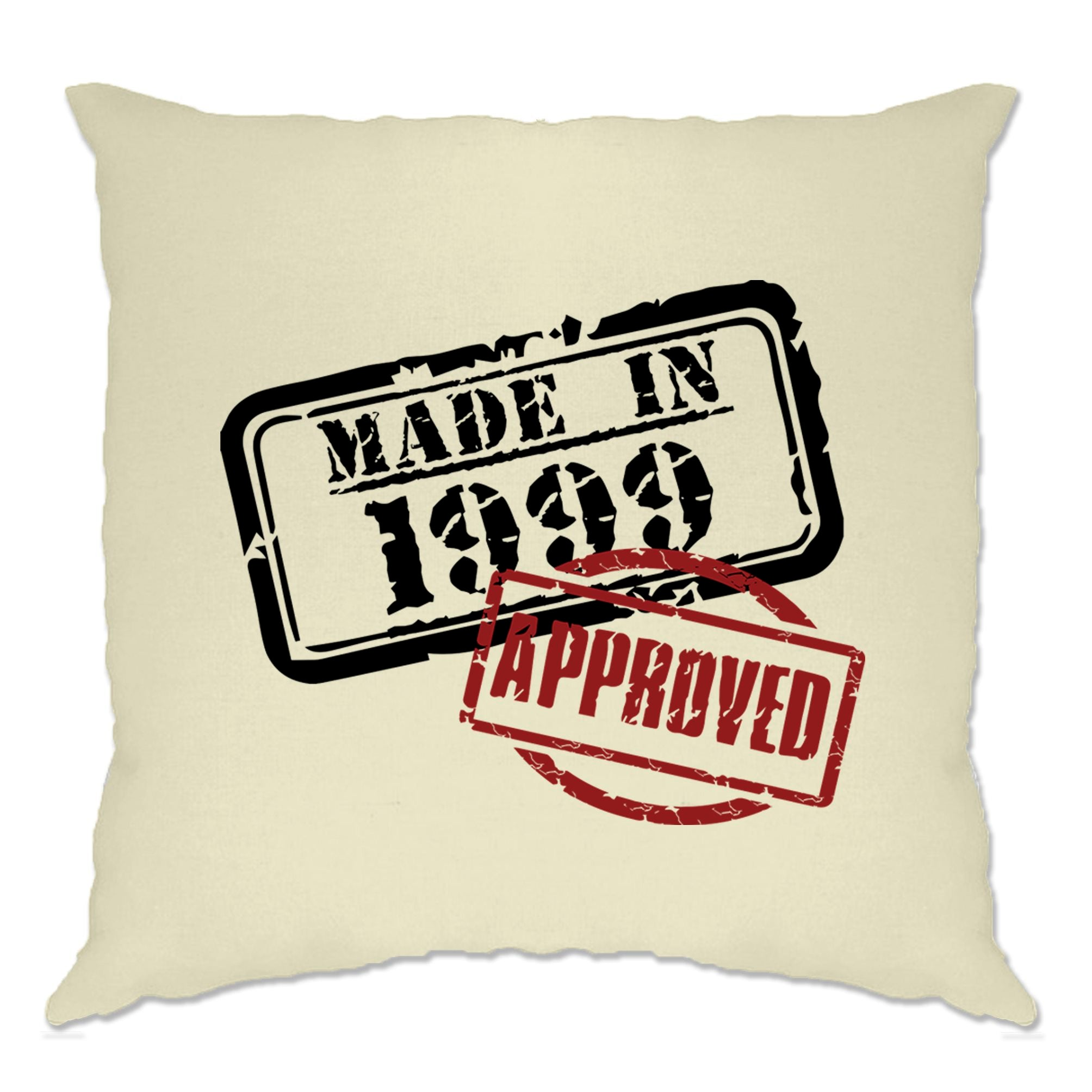 21st Birthday Cushion Cover Distressed Made in 1999 Approved