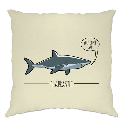 Shark Pun Cushion Cover Sarcastic Sharkastic Joke