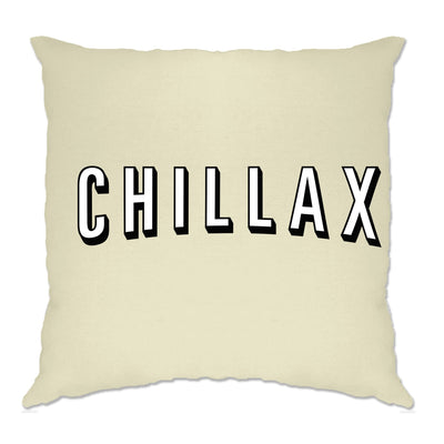 TV And Chill Cushion Cover Chillax Stylised Text Slogan