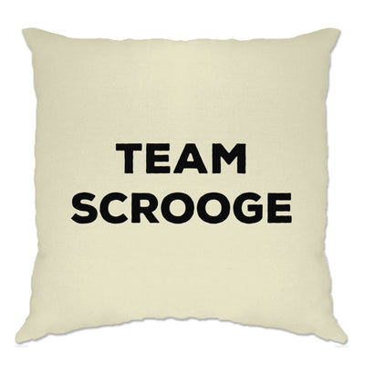Novelty Anti-Christmas Cushion Cover Team Scrooge Slogan